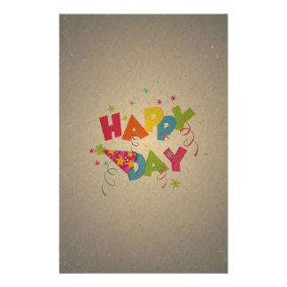 Retro Vintage Happy Birthday Pattern Personalized Flyer