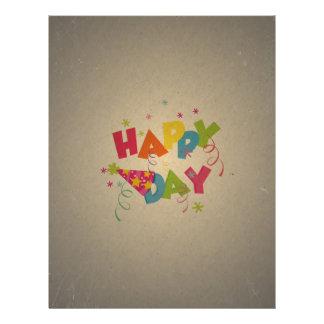 Retro Vintage Happy Birthday Pattern Flyer Design