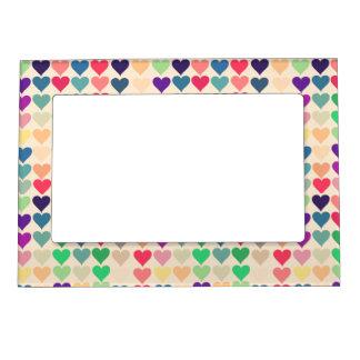 Retro vintage heart tiled heart pattern colorful magnetic frame