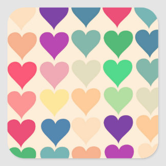 Retro vintage heart tiled heart pattern colorful square sticker