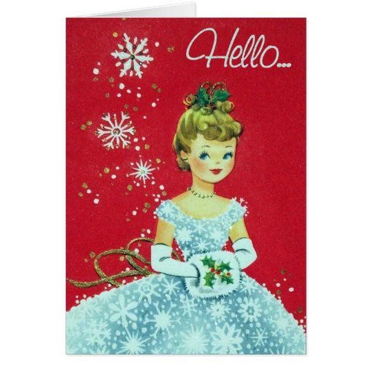 Retro Vintage Holiday lady add text card