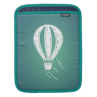 Retro Vintage Hot Air Balloon Turquoise Background Sleeves For iPads