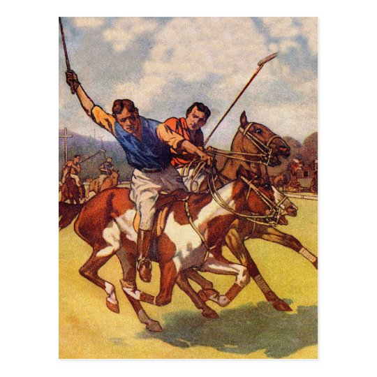 Retro Vintage Kitsch 20s Polo Match Postcard