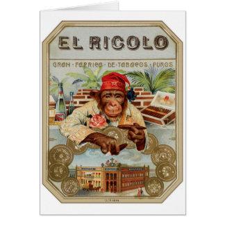 Retro Vintage Kitsch 30s Cigar El Ricolo Chimp Greeting Card