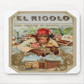Retro Vintage Kitsch 30s Cigar El Ricolo Chimp Mousepads