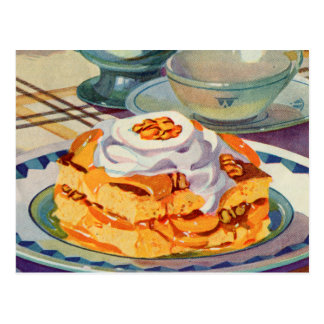 Retro Vintage Kitsch 30s Cookbook Peach Shortcake Postcard