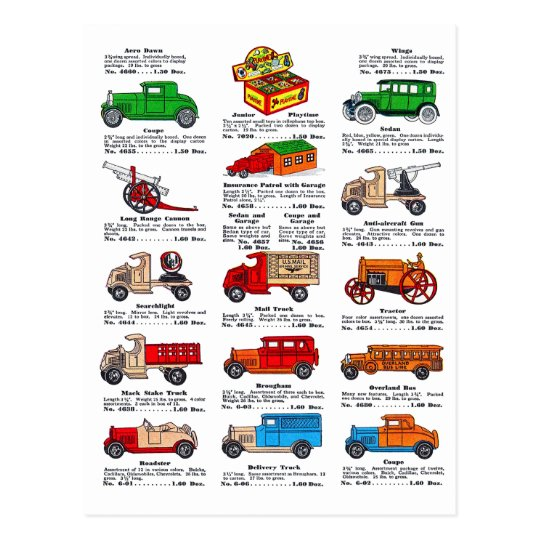 Retro Vintage Kitsch 30s Toy Catalogue Cars & Postcard