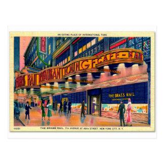 Retro Vintage Kitsch 40s Brass Rail New York Postcards