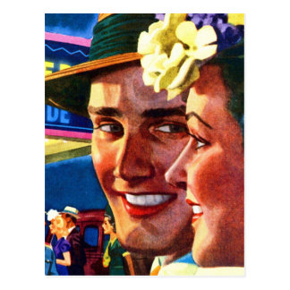 Retro Vintage Kitsch 40s Couple Stepping Out Postcard