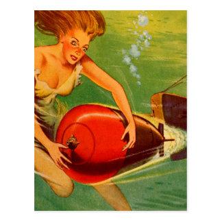 Retro Vintage Kitsch 40s Pulp Torpedo Caught! Postcard