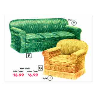 Retro Vintage Kitsch 40s Sofa Chair Davenport Set Post Cards