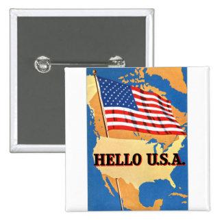 Retro Vintage Kitsch 50s America Hello USA Flag Button