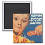 Retro Vintage Kitsch 50s Bacon, Bacon, Bacon! Ad Square Magnet