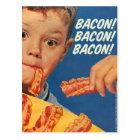 Retro Vintage Kitsch 50s Bacon, Bacon, Bacon! Ad Postcard