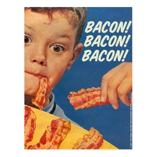 'Retro Vintage Kitsch 50s Bacon, Bacon, Bacon! Ad Postcard
