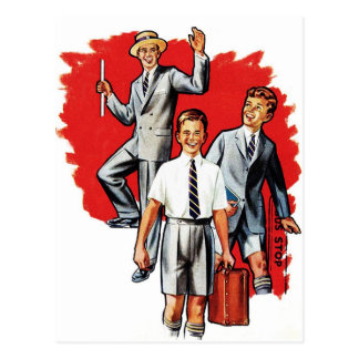 Retro Vintage Kitsch 50s Boys School Fashions Postcard