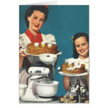 Retro Vintage Kitsch 50s Cookbook Homemaker Greeting Card