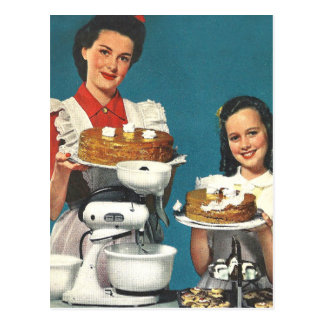 Retro Vintage Kitsch 50s Cookbook Homemaker Post Card