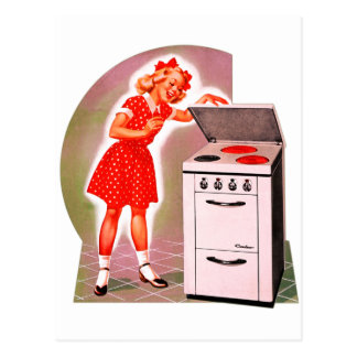 Retro Vintage Kitsch 50s Electric Range Girl Ad Postcard