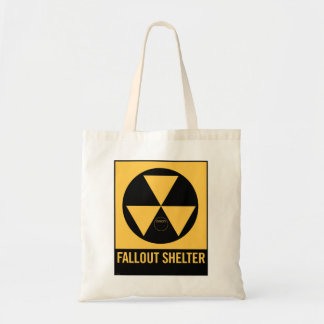 Retro Vintage Kitsch 50s Fallout Shelter Sign Tote Bags