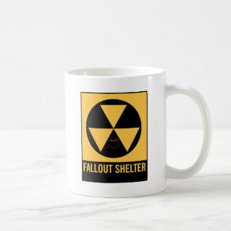 Retro Vintage Kitsch 50s Fallout Shelter Sign Basic White Mug
