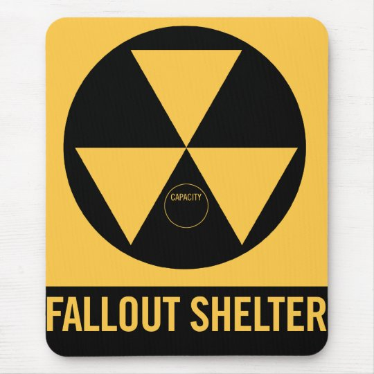 Retro Vintage Kitsch 50s Fallout Shelter Sign Mouse