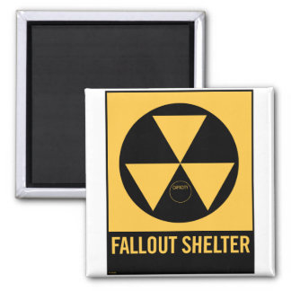 Retro Vintage Kitsch 50s Fallout Shelter Sign Square Magnet