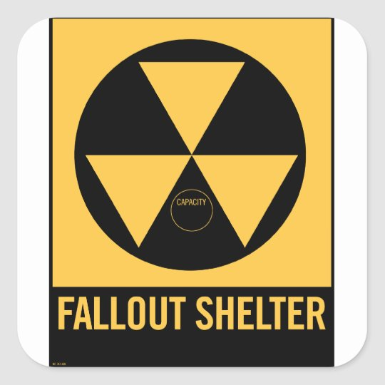 Retro Vintage Kitsch 50s Fallout Shelter Sign Square
