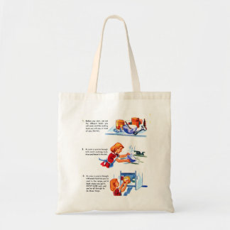 Retro Vintage Kitsch 50s Kids Recipe Cooking Tips Budget Tote Bag