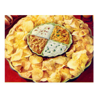 Retro Vintage Kitsch 50s Potato Chips & Dip Postcard