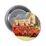 Retro Vintage Kitsch 50s School Kid Red School Bus 6 Cm Round Badge