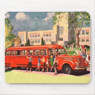 Retro Vintage Kitsch 50s School Kid Red School Bus Mouse Pad