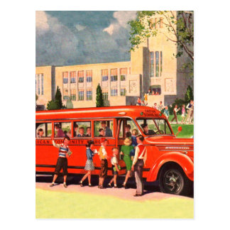 Retro Vintage Kitsch 50s School Kid Red School Bus Postcard