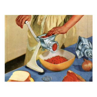 Retro Vintage Kitsch 50s Suburbs Meat Grinder Beef Post Cards