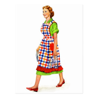 Retro Vintage Kitsch 50s Suburbs Woman Housewife Postcard