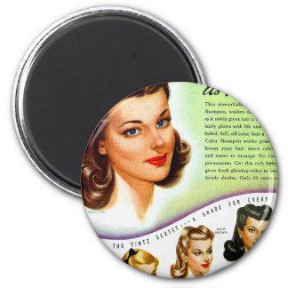 Retro Vintage Kitsch 50s Tintz Haircolor Ad 6 Cm Round Magnet