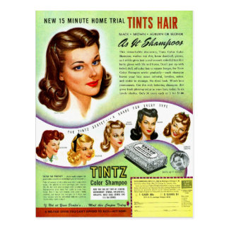 Retro Vintage Kitsch 50s Tintz Haircolor Ad Postcard
