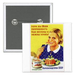 Retro Vintage Kitsch 50s USSR Soviet Chatka Crab 15 Cm Square Badge