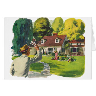 Retro Vintage Kitsch 50s Welcome Home House Ad Art Greeting Card
