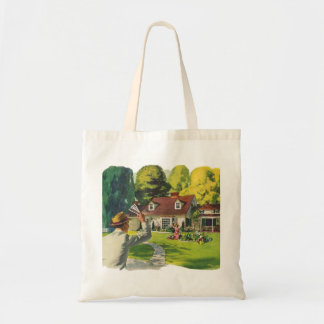 Retro Vintage Kitsch 50s Welcome Home House Ad Art Budget Tote Bag