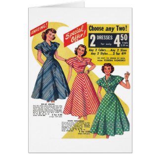 Retro Vintage Kitsch 50s Woman Dresses Fashion Ad Card