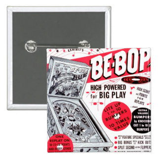 Retro Vintage Kitsch 60s Be-bop Pinball Machine Ad 15 Cm Square Badge