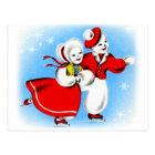 Retro Vintage Kitsch 60s Christmas Snowman Card