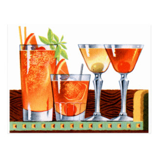 Retro Vintage Kitsch 60s Cocktails Drinks Martinis Postcard