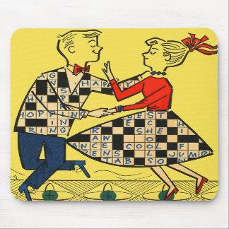 Retro Vintage Kitsch 60s Crossword Puzzle Kids Mousepads