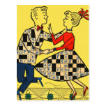 Retro Vintage Kitsch 60s Crossword Puzzle Kids Postcard