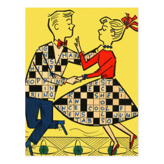 Retro Vintage Kitsch 60s Crossword Puzzle Kids Postcard