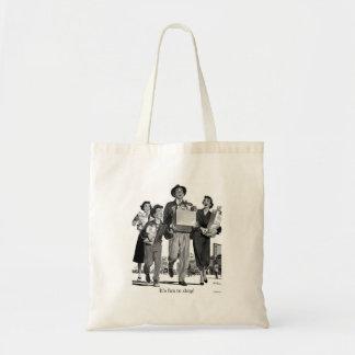 Retro Vintage Kitsch 60s It's Fun to Shop! Canvas Bags