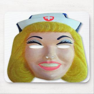 Retro Vintage Kitsch 60s Kids Halloween Nurse Mask Mouse Pads