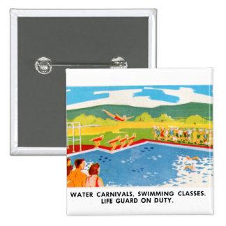 Retro Vintage Kitsch 60s Resort Ad Brochure Art Pinback Button